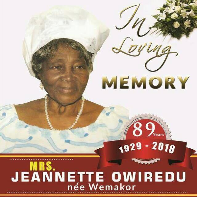 Mrs. Jeannette Owiredu (nee Wemakor)