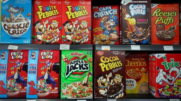 US cereal aisle