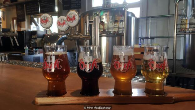 Many Solothurn-based businesses have embraced the number 11, including the family-run brewery Öufi-Bier, or 'Eleven Beer' (Credit: Credit: Mike MacEacheran)