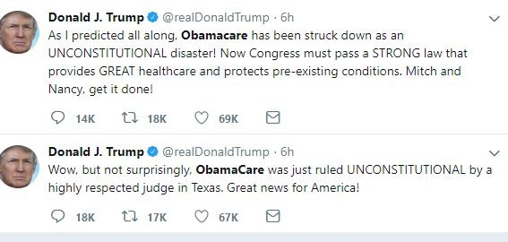 President Trump celebrates as Federal judge rules Obamacare as