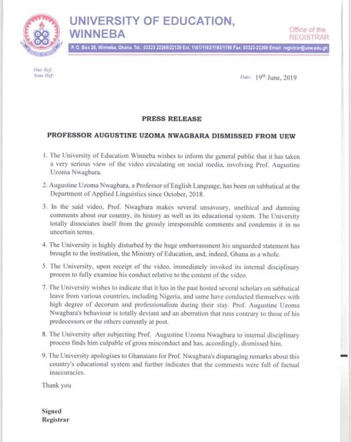 UEW statement