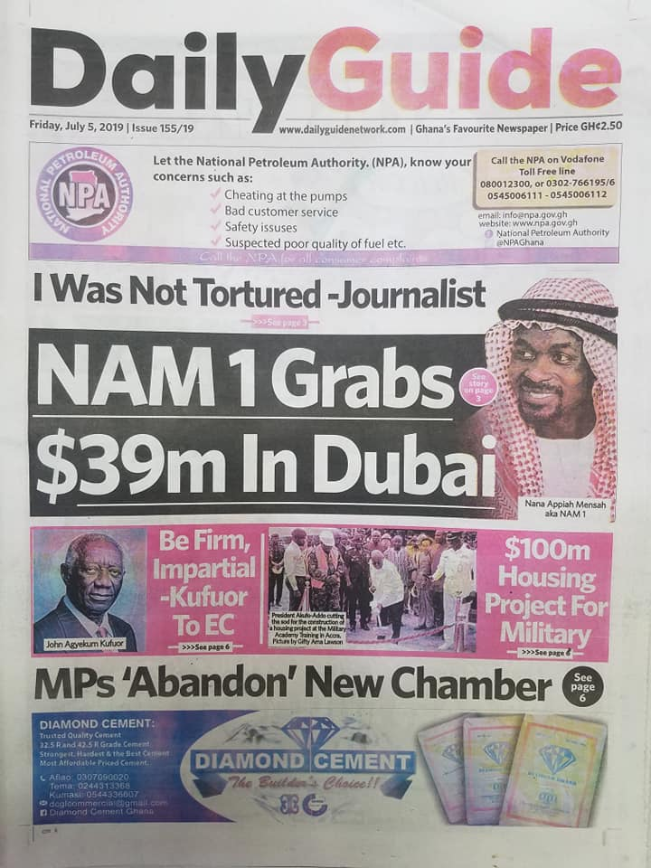 Newspaper headlines: Friday, July 5, 2019