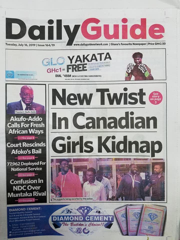 Newspaper headlines : Tuesday, July 16, 2019