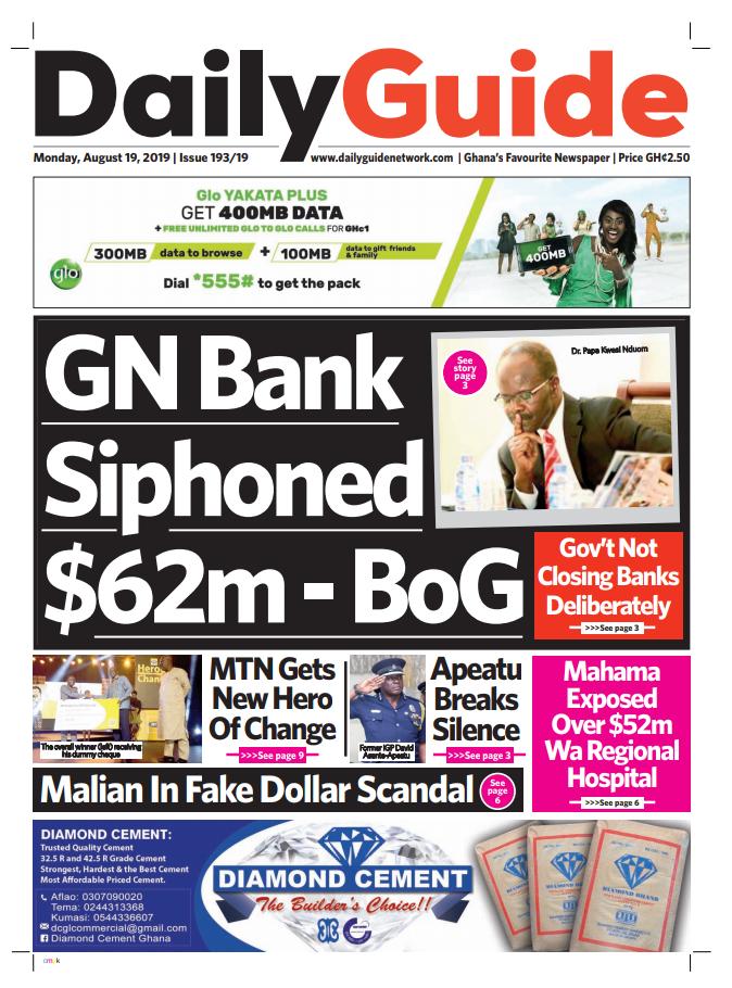 Newspaper Headlines: Monday, August 19, 2019 - Adomonline com