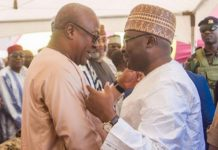 Vice-President Dr Bawumia and John Mahama at the adua of the Chief Imam's sister