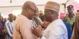 Vice-President Dr Bawumia and John Mahama at the adua of the Chief Imam's sister