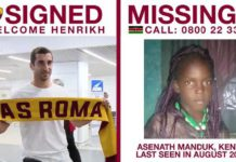 AS Roma's social service campaign is helping find missing children. Photo: AS Roma Twitter