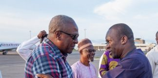 Former President John Dramani Mahama in a handshake with Alban Bagbin, Second Deputy Speaker