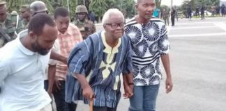Charles Komi Kudzordzi [with walking stick] declared Western Togoland independent on November 16