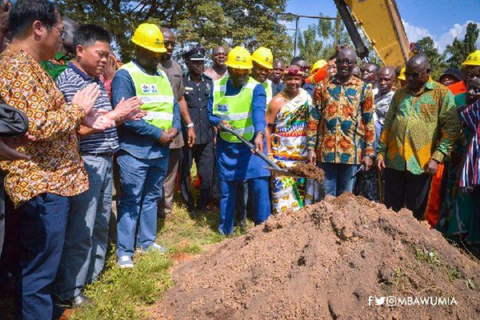 Dr Bawumia during sod cutting for Eastern corridor Hohoe-Jasikan-Dodo Pepesu roads