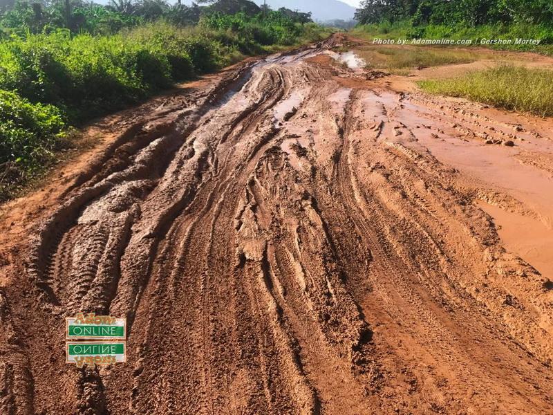 Muddy road from Nkonya to Abotiase