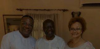 From Left: Archbishop Nicholas Duncan Williams; Ken Ofori-Atta and Mrs Ofori-Atta