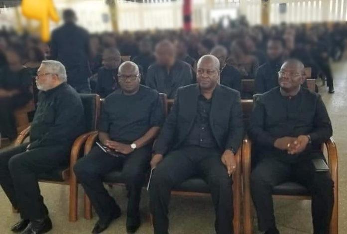 Former President Rawlings at Funeral with John Mahama