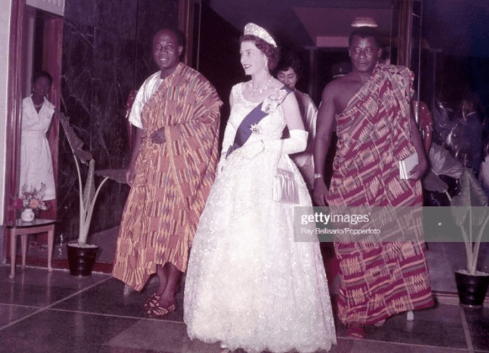 Queen Elizabeth II arrives with President Kwame Nkrumah for a State Dinner at the Ambassador Hotel in Accra.