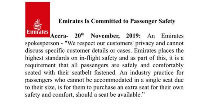 Statement released by Emirates concerning Di Asa contestant