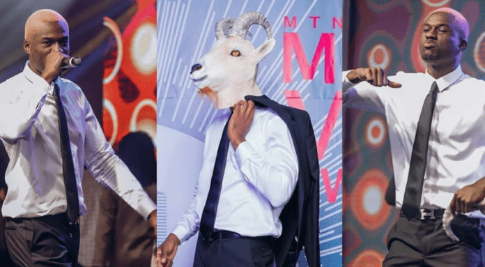 Joey B with the goat mask