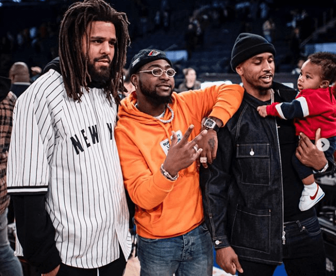 J Cole, (L), Davido (M) and Trey Songz at Madison Square Garden