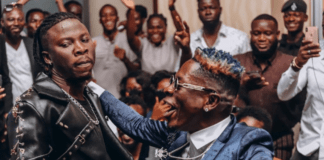 Stonebwoy (L) and Shatta Wale at 4Syte Music Awards 2019