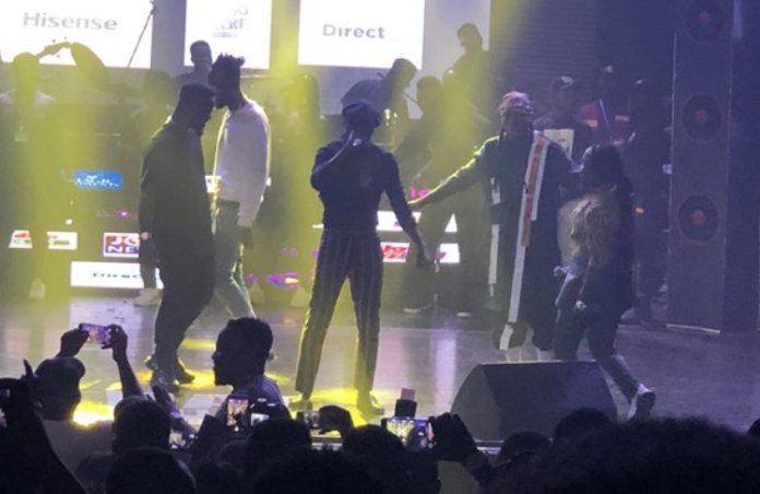 L-R: Sarkodie, Kwaw Kese, Reggie Rockstone, Edem and Obrafour on stage at the concert