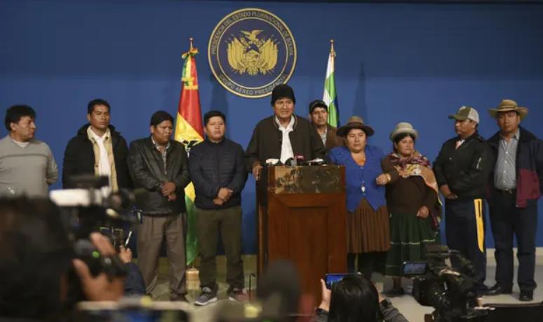The Bolivian president, Evo Morales, makes a speech at the presidential hangar in El Alto on Sunday. Photograph: Enzo De Luca/AP