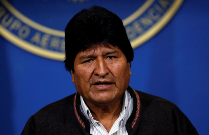 Bolivia's President Evo Morales addresses the media at the presidential hangar in the Bolivian Air Force terminal in El Alto, Bolivia, on November 10, 2019.REUTERS