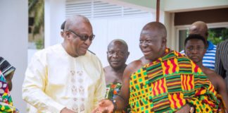 Asantehene's visit to the office of John Dramani Mahama on Friday was ahead of a lecture the king was scheduled to deliver at the University of Professional Studies Accra.