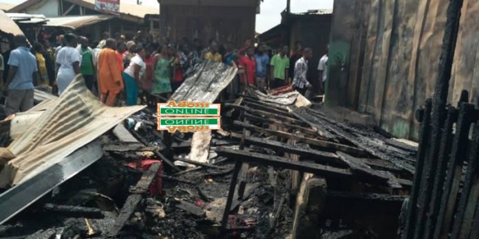 The burnt items included clothes, sewing machines, food items and other goods worth several thousands of Ghana Cedis.