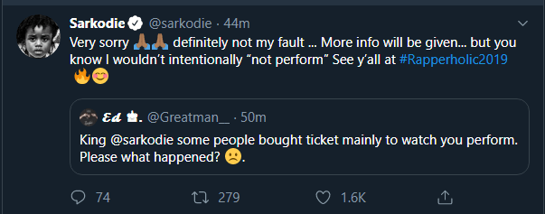 Sarkodie apologises for not performing at Cardi B concert