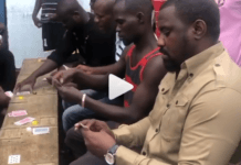 John Dumelo play cards with hood fans