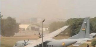 The Aircraft crashed at the Air Force Base in Accra