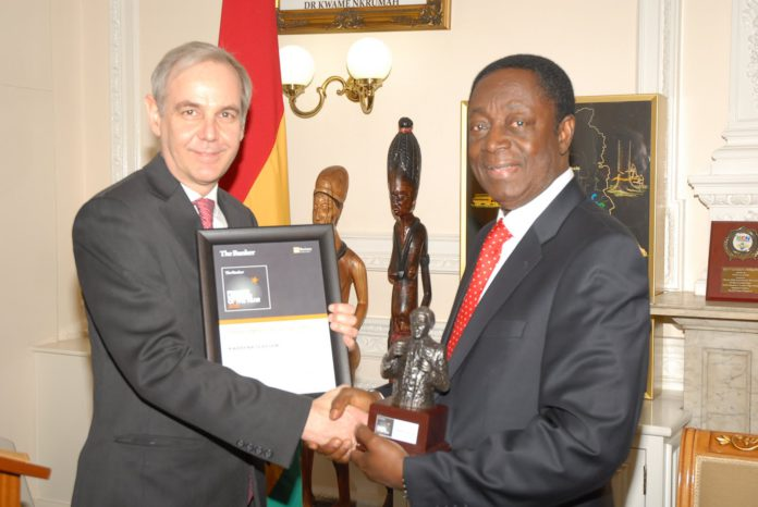 Dr Kwabena Duffuor, receiving the 'The Banker' African Finance Minister of the Year Award at a ceremony in London