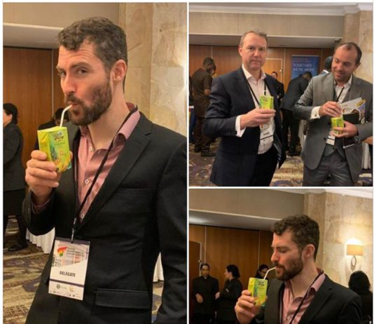 Photos shared on the 1D1F official Facebook page showed investor participants in the ongoing Ghana Investment Opportunities Summit in the UK, enjoying the locally produced juice