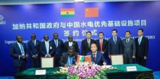 Officials of Ghana and China present at the Sinohydro trade deal signing
