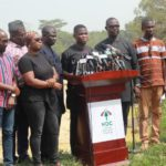 NDC addressing the press at the bank of River Pra