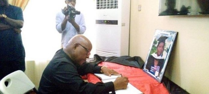 The Speaker, Reverend Professor Mike Oquaye signing the book of condolence