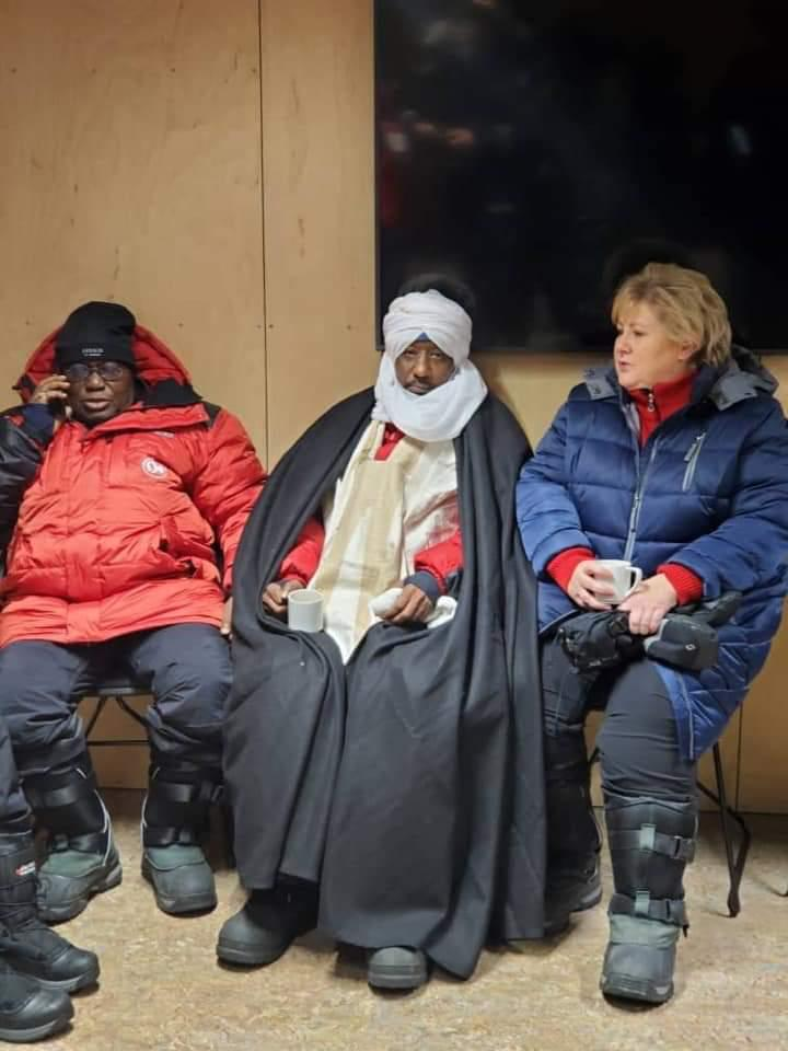 Ghanaian president is all suited for Norway weather in the company of Sanusi Lamido Sanusi, Emir of Kano.