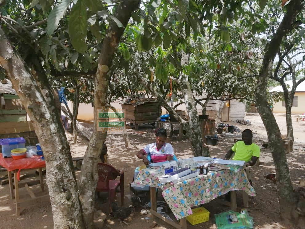 Babies receive treatment under cocoa tree due to absence of CHPS compound