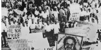 Workers jubilate after Kwame Nkrumah overthrow