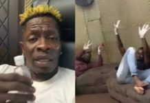Shatta Wale patronises hand sanitisers; enforces people who visit him will wear gloves