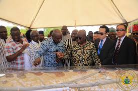 President Akufo-Addo inspecting the acoustic design of the Tamale Interchange under the Sinohydro deal