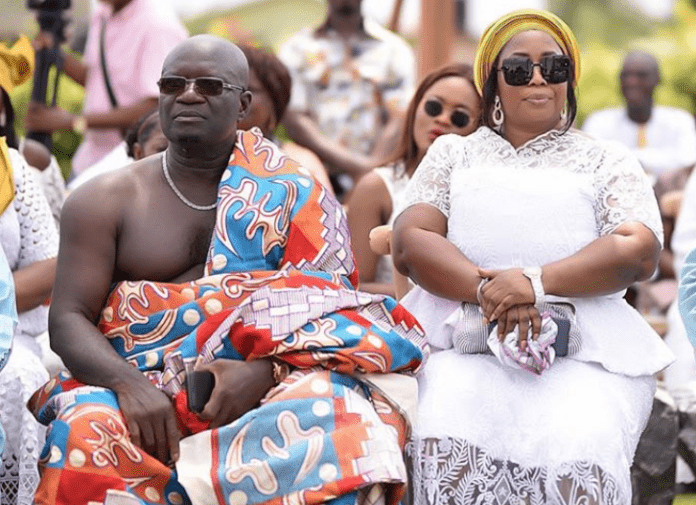 Parents of rapper Medikal during their son 's traditional wedding to Fella Makafui