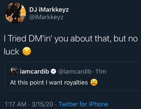 DJ iMarkkeyz resolves copyright request of Cardi B on his coronavirus song