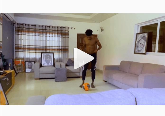 Kuami Eugene plays football in his living room amidst coronavirus 'house arrest'