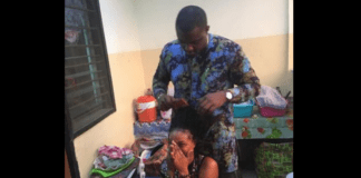 John Dumelo does Legon student's hair