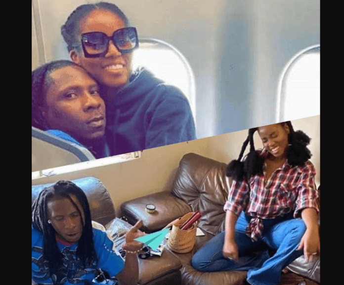 Mugeez and MzVee are set to trend after loved-up photos of them surfaces on social media where the female singer seeks comfort on the laps of the R2Bees act on a flight.