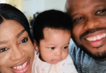 L-R: Sinach, her daughter and husband
