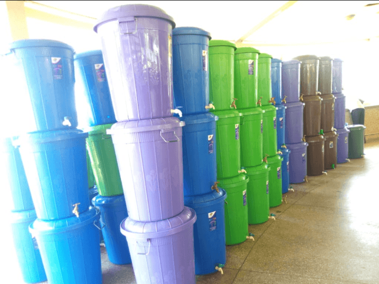 Different colours of Veronica Buckets lined up