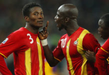 Gyan and Appiah during 2010 World Cup against Quarter-final game against Uruguay