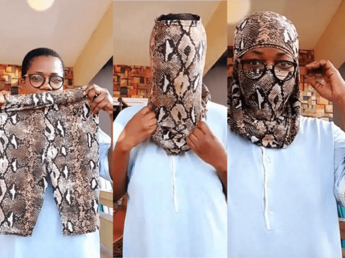 Mzbel demonstrates how to turn leggings into nose masks