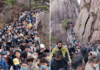Visitors pack Anhui province's Huangshan mountain park on April 4, exceeding the visitor limit of 20,000.